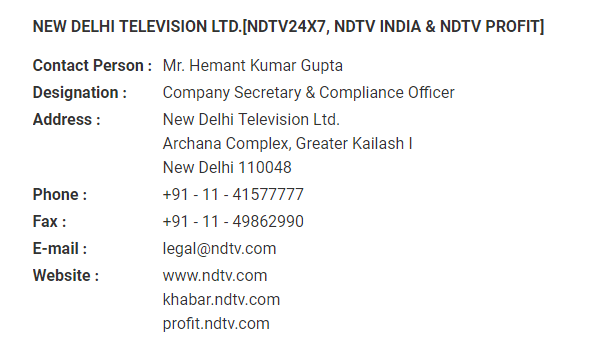 NDTV contact details